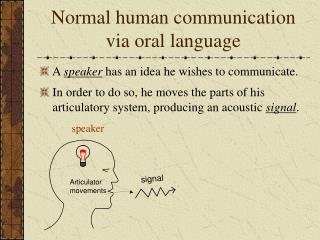 Normal human communication via oral language