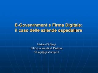 E-Govenrnment e Firma Digitale:  il caso delle aziende ospedaliere