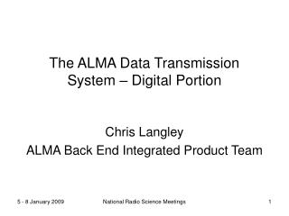 The ALMA Data Transmission System – Digital Portion