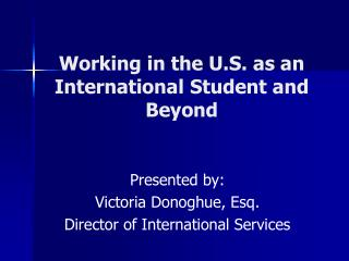 Working in the U.S. as an International Student and Beyond