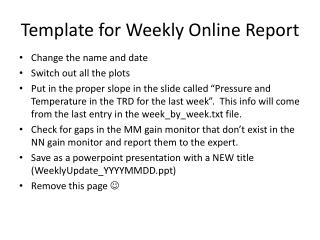 Template for Weekly Online Report