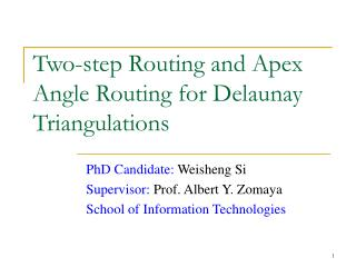 Two-step Routing and Apex Angle Routing for Delaunay Triangulations
