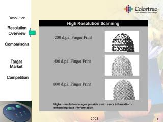 Can you see the difference between the Colortrac models when  RESOLUTIONS ARE COMPARED  ?