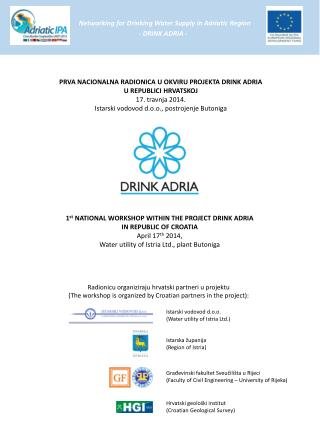 Networking  for Drinking Water Supply in Adriatic  Region - DRINK ADRIA -