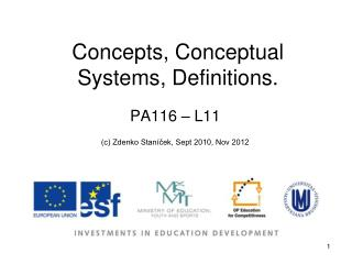 Concepts, Conceptual Systems, Definitions.