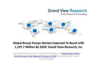 Breast Pumps Market Is Expected To Reach $1,197.7 Million