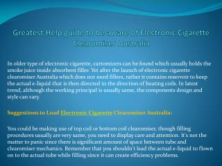 Greatest help guide to be aware of electronic cigarette clea