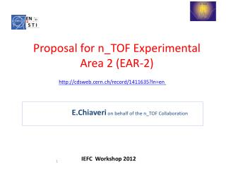 E.Chiaveri on  behalf of the n_TOF Collaboration