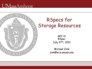 RSpecs for  Storage Resources