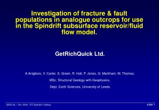 GetRichQuick Ltd. A.Anigboro, V. Carter, S. Green, R. Hall, P. Jones, G. Markham, M. Thomas.