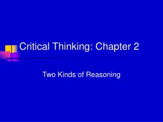 Critical Thinking: Chapter 2