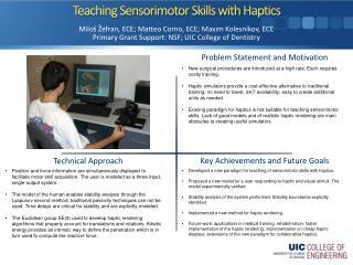 Teaching  Sensorimotor  Skills with  Haptics