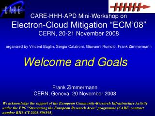 Welcome and Goals Frank Zimmermann CERN, Geneva, 20 November 2008