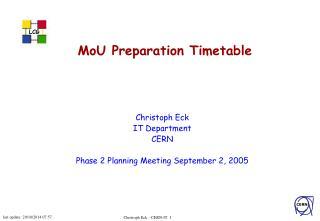 MoU Preparation Timetable