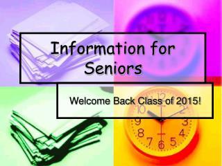 Information for Seniors