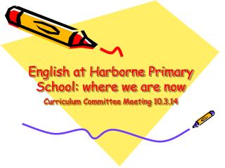 English at Harborne Primary School: where we are now Curriculum Committee Meeting 10.3.14