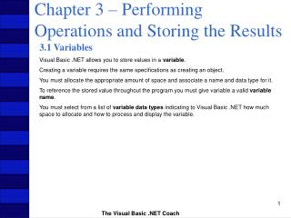 Chapter 3 – Performing Operations and Storing the Results