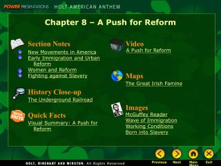 Chapter 8 – A Push for Reform