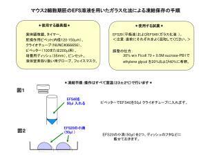 実体顕微鏡、タイマー、 胚操作用ピペット ( 内径 120-150 m m )、 クライオチューブ( NUNC#366656 )、 ピペッター( 100 または 200 m l 用)、
