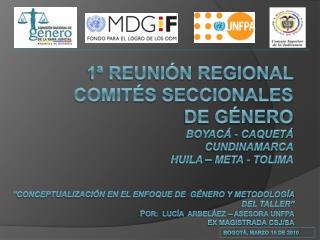 1  Reuni n REGIONAL  comit s seccionales de g nero BOYAC  - CAQUET  CUNDINAMARCA HUILA   META - TOLIMA