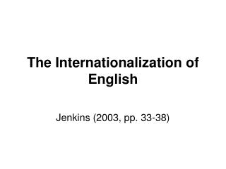 The Internationalization of English