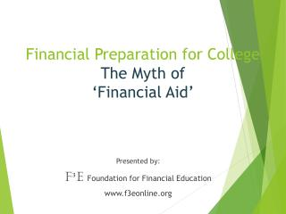 Financial Preparation for College The Myth of  'Financial Aid'