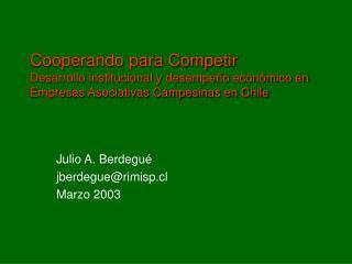 Julio A. Berdegué jberdegue@rimisp.cl Marzo 2003