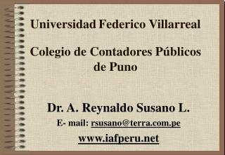 Universidad Federico Villarreal  Colegio de Contadores P blicos  de Puno