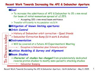 Recent Work Towards Increasing the AP2 & Debuncher Aperture