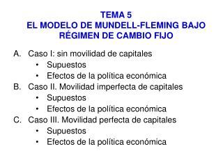 TEMA 5 EL MODELO DE MUNDELL-FLEMING BAJO RÉGIMEN DE CAMBIO FIJO