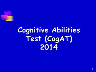 Cognitive Abilities Test (CogAT)  2014