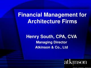 Financial Management for Architecture Firms