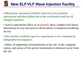 New ELF/VLF Wave Injection Facility
