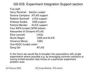 GS-EIS: Experiment Integration Support section