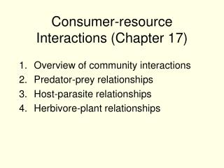 Consumer-resource Interactions Chapter 17