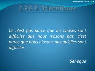 C.P.G.E. Scientifiques