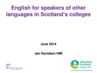 English for speakers of other languages in Scotland's colleges