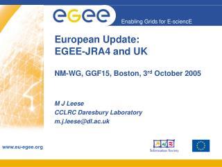 European Update:  EGEE-JRA4 and UK