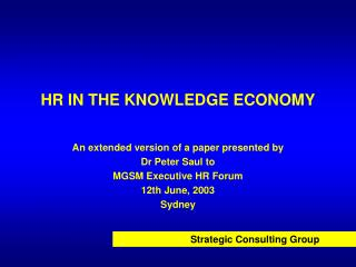 HR IN THE KNOWLEDGE ECONOMY