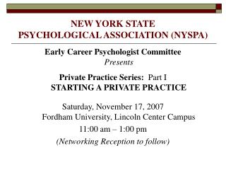 NEW YORK STATE  PSYCHOLOGICAL ASSOCIATION NYSPA