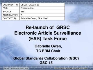 Re-launch of  GRSC  Electronic Article Surveillance (EAS) Task Force