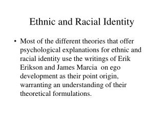 Ethnic and Racial Identity