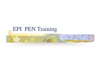 EPI  PEN Training