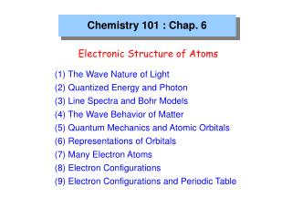 Chemistry 101 : Chap. 6