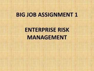 BIG JOB ASSIGNMENT 1 ENTERPRISE RISK MANAGEMENT