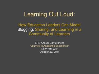 Learning Out Loud: