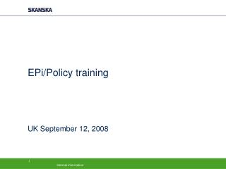 EPi/Policy training