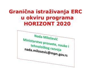 Granična istraživanja ERC u  okviru programa HORIZONT 2020