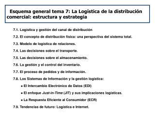 Esquema general tema 7: La Logística de la distribución comercial: estructura y estrategia