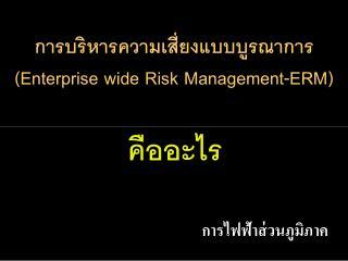 การบริหารความเสี่ยงแบบบูรณาการ (Enterprise wide Risk Management-ERM)